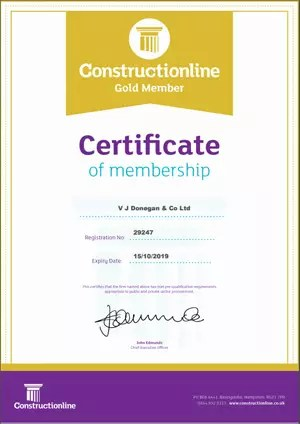 Constructionline Gold Member - Certificate of Membership