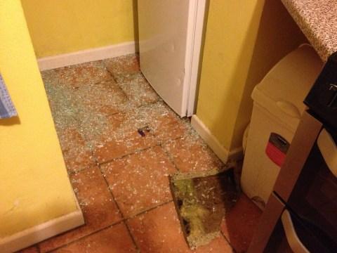 Đây là đống thủy tinh vỡ từ cái cửa thông vào nhà bếp bị phá. Cục bê tông cạnh thùng rác kia là bọnn trộm dùng để ném vỡ cửa kính. Trên tủ lạnh có mấy vết móp do cục bên tông va vào.