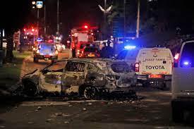 إحراق ثلاث حافلات إسرائيلية في يافا من قبل مجهولون