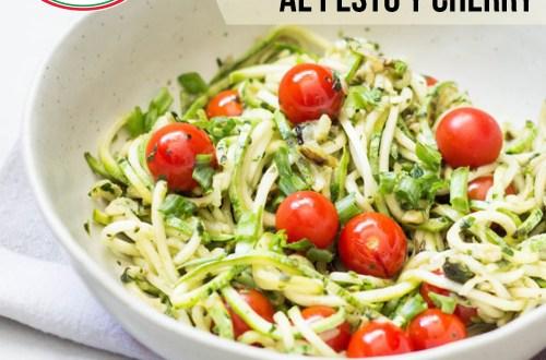 Spaghetti de zucchini al pesto y cherry