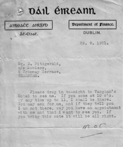 letter from Michael Collins