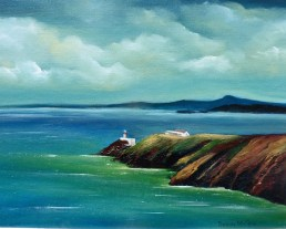 Bailey Lighthouse, Howth - 16 x 12 inches - Oil on board
