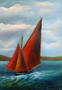Galway Hooker Seascape- Oil on canvas