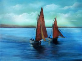 Galway Hooker Boats 16x12 inches - Oil on Block Canvas - Donna McGee Art