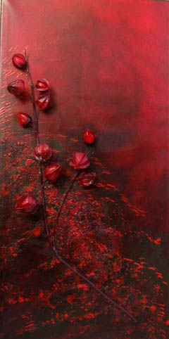 Eastern Embers, textured flame red oil painting on canvas © www.donnamcgee.ie