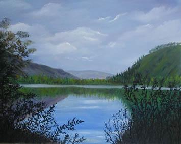 Lower lake Glendalough Wicklow mountains