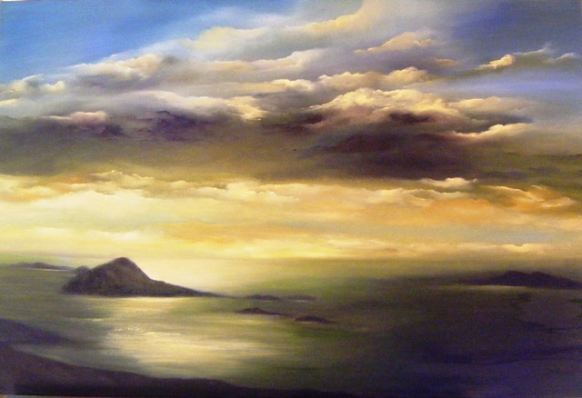 The Blasket Islands, Co. Kerry, dramatic sky, irish skyline, cloudy sky, sun on water