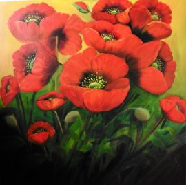 Garden Poppies 28 x 28 inches Oil painting