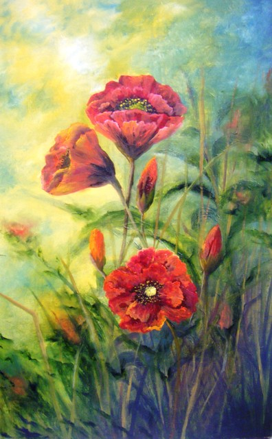 Large poppies, orange flowers, sunlight and flowers oil painting