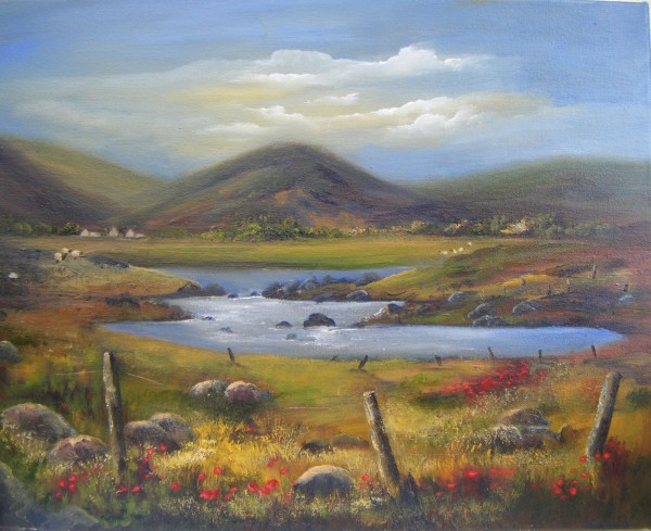 Irish landscape painting in oils, west coat of Ireland