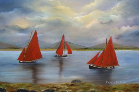 Galway Hookers, Red Sails in the Sunset, boating of the west coast of Ireland