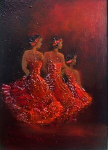 Irish Art - Let the Performance Begin - dancing girls, lady in red, stage performance, the ballet
