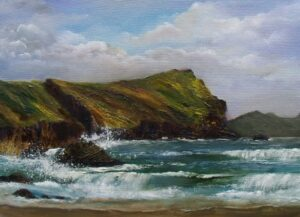 Irish Art - my-plein-air-dingle-trip - Sea beating against the rocks on Dingle Peninsula, Atlantic rugged coastline
