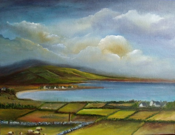 Atlantic coastline, view of Dingle peninsula, many shades of green, sheep grazing