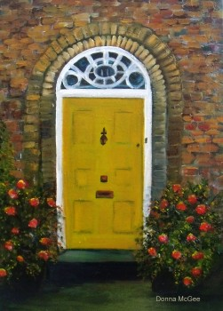 "Georgian Building Doorway, Oil Painting 12x10"" © Donna McGee"