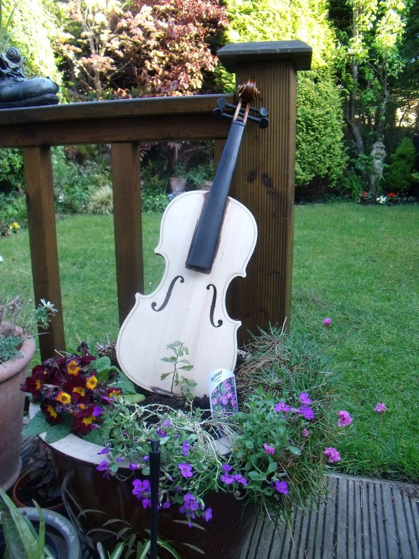 My Garden Violin 2, instrument art, violin art, oil painted violin, musical art