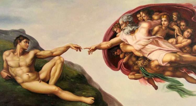Creation of Adam, Michaelangelo, Cistine Chapel, Rome, Fresco