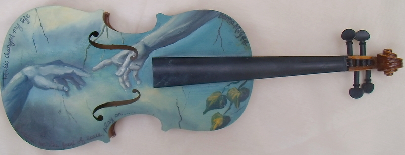 Violin Art, Michaelangelo's fresco, The Creation of Adam, cistine chapel, rome, muscical art,