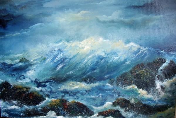 international-art-award-atlantic-crash Waves Crashing against Rocks, stormy seas, west coast of Ireland, stormy skies, © www.donnamcgee.ie