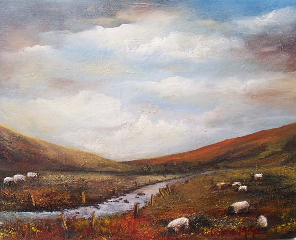 "Connemara, sheep grazing,west of Ireland oil painting, Connemara View 10 x 12"" Oil on block canvas"