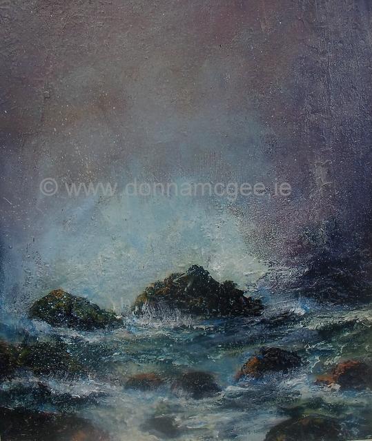 """Ocean Waves 10 x 12 """" oil on board"""