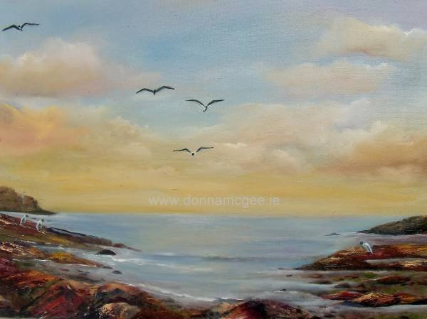 "The Gannet Watch 24 x 18"" Oil Painting © Donna McGee"