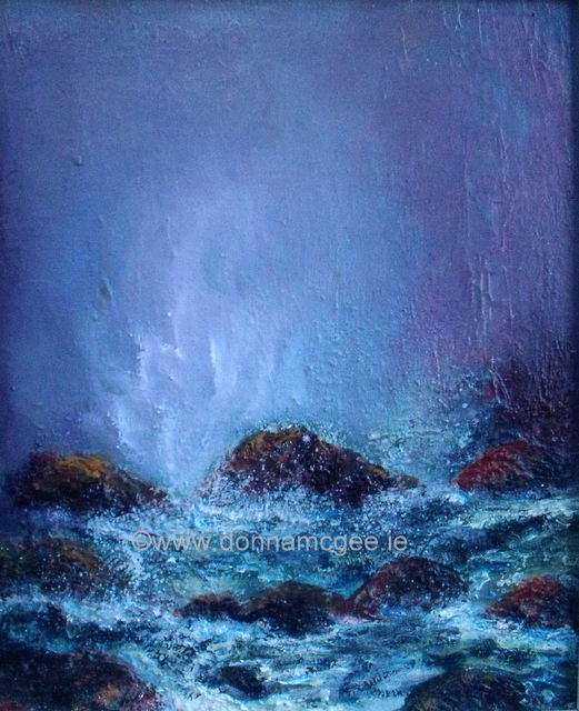 Upsurge 10 x 12 Oil on board, waves crashing on rocks