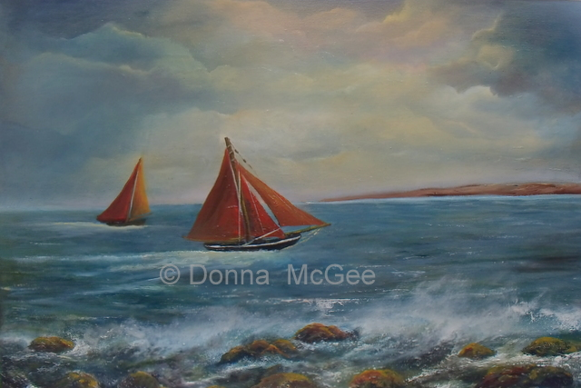 Galway Hookers Oil painting, 20 x 30 Donna McGee