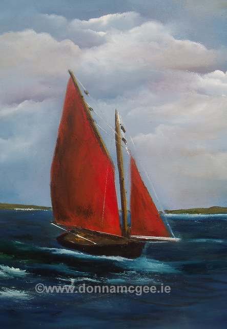 Galway Hookers 4 Oil on canvas 14x10""