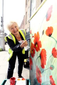09/09/2015 - MAXWELLS DUBLINPic shows, Donna McGee, Artist, painting onto an electricity box on the corner of Fitzwilliam Street.Dublin Canvas was set up earlier this year with a project idea to help brighten up the city of Dublin.  An idea intended to bring flashes of colour and creativity to everyday objects in the City. According to Dave Murtagh, Project Co-Ordinator of Dublin Canvas, the project takes previously unused public space and transforms it into canvases to help brighten up the City. Making Dublin a more beautiful place to live, work and visit. The project began as a pilot Beta Project commissioned by  Dublin City Council in 2013. Dublin Canvas intends to roll this out to 80 boxes in total (almost 20 completed to date)  which hopefully will be completed by November and before the bitter winter takes its toll.PIC: MAXWELLS