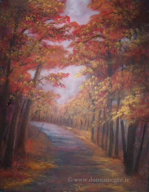 Autumn Walk 14 x 18 inches - Acrylic on Canvas - Landscape Art
