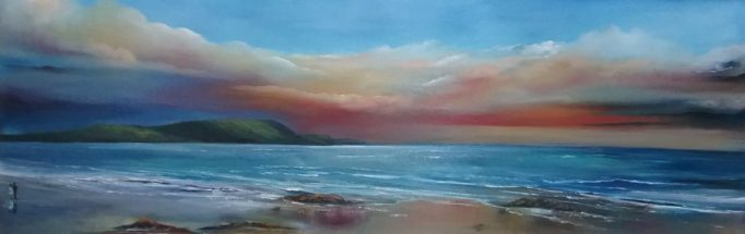 Romance at Keel Bay, Achill Island Oil painting 36 x 12 inches