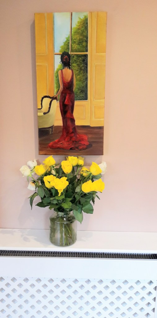 Lady in Red - Oil painting 30 x 60 cms