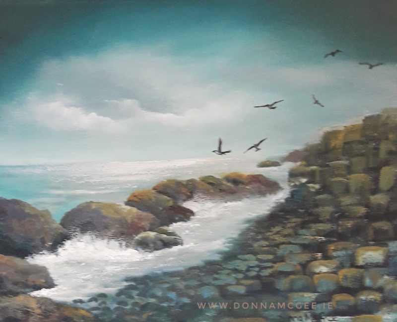 "The Giants Causeway -  10 x 12"" Oil on Board"