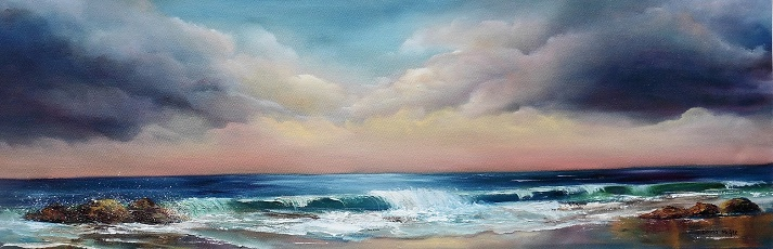 Featured Artist at Arts Business Institute Sea to Shore 36 x 12 inches Oil on canvas - ABI Feature