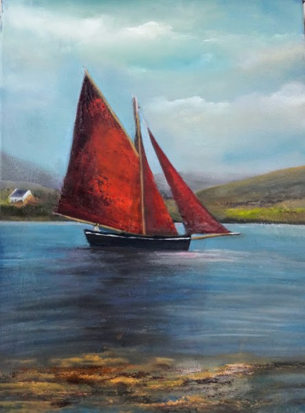 A Day for Fishing 16 x 12 inches - Oil on Block Canvas