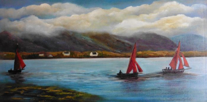 The TRio - Galway Hooker fishing boats oil painting