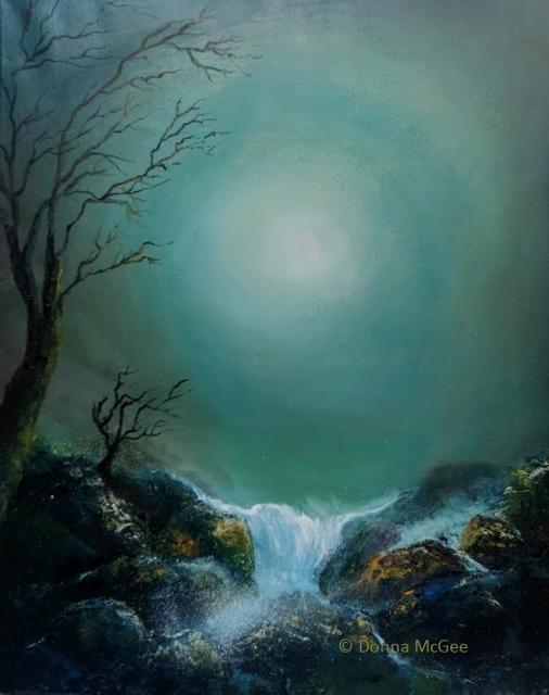 iRISH LANDSCAPSE ART Moonlight Glow 20 x 16 inches - Oil on Block Canvas