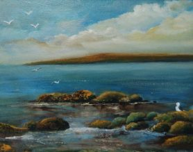 Chilling with the Breeze 8x10 inches - Oil on Canvas Seagull on rocks