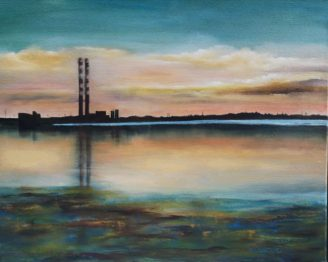 iRISH LANDSCAPSE ART Poolbeg Generating Station - The Pigeon House - 20x16 inches - Oil on Canvasv