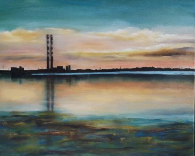 Poolbeg Generating Station - The Pigeon House - 20x16 inches - Oil on Canvasv
