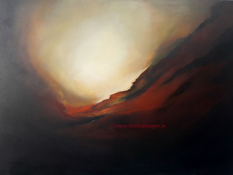 Earth's Core 30x40 inches - Oi on Block Canvas