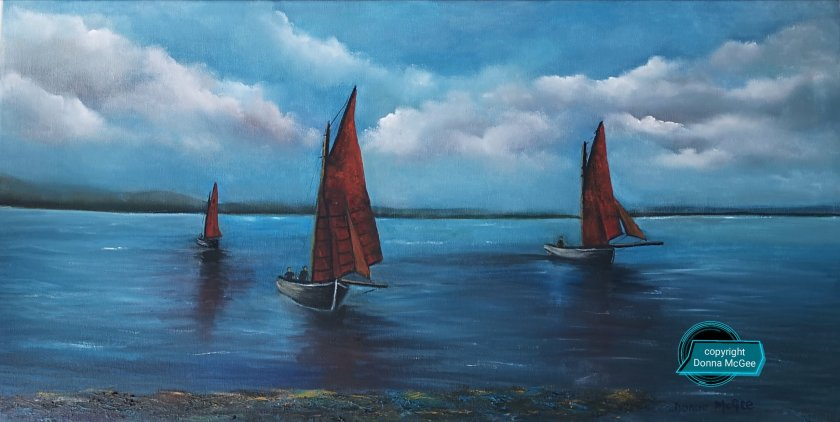 Galway Hookers en Route 40 x 80 cms - Oil on Canvas