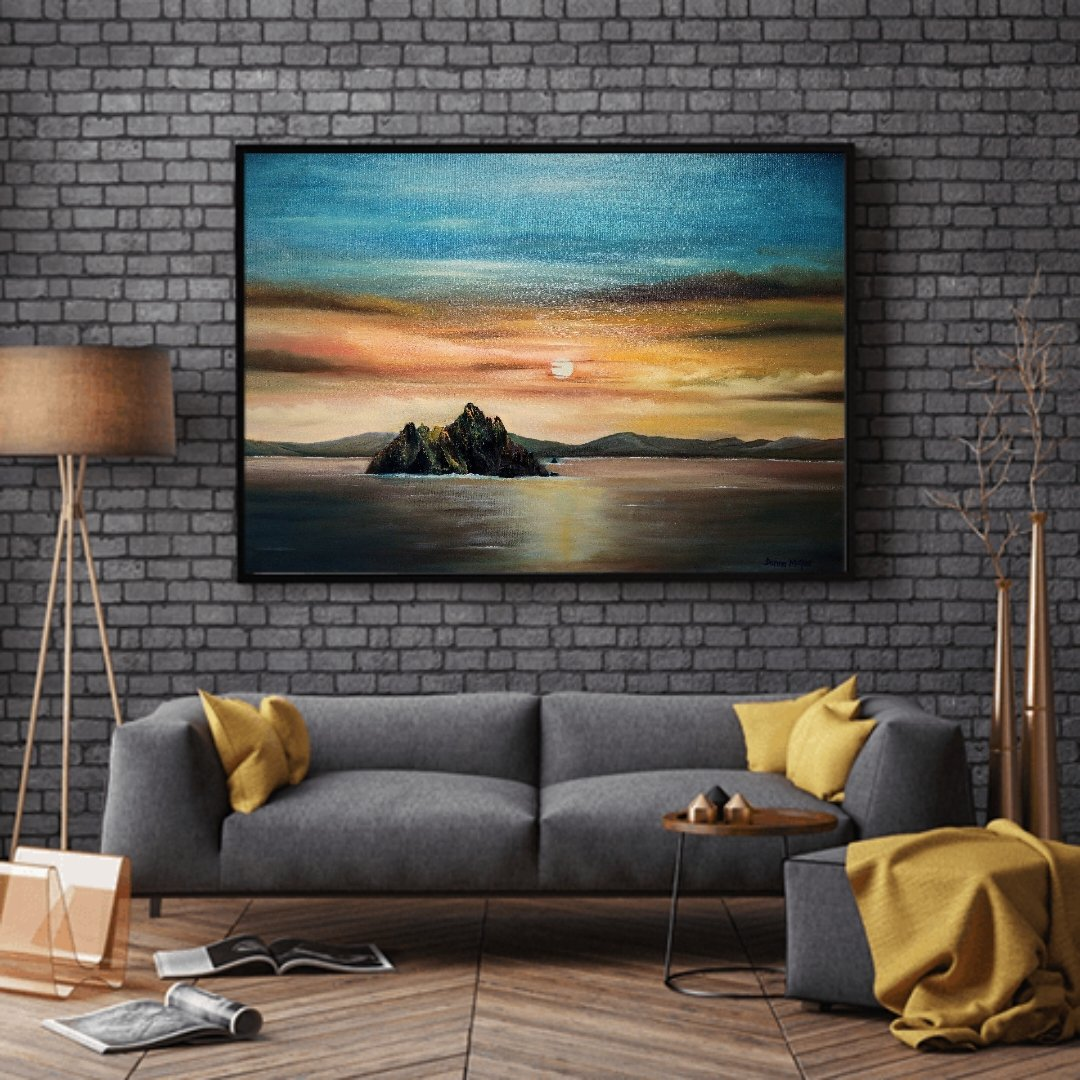 Skellig Michael along the Wild Atlantic Way 60x90cms Oil on Canvas-Donna McGee