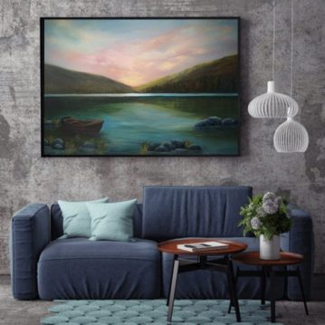 Upper Lake Glendalough oil painting in a room setting, restful scene with moored boat and mountains in background