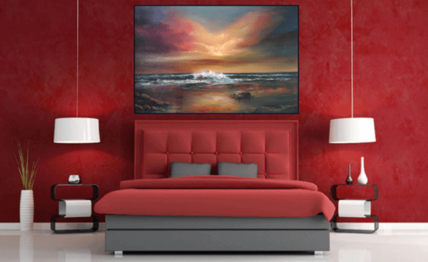 World at Peace - Oil painting of calm and colourful seascape in a room setting Blog Post Happy and Safe Easter to all 12Apr20