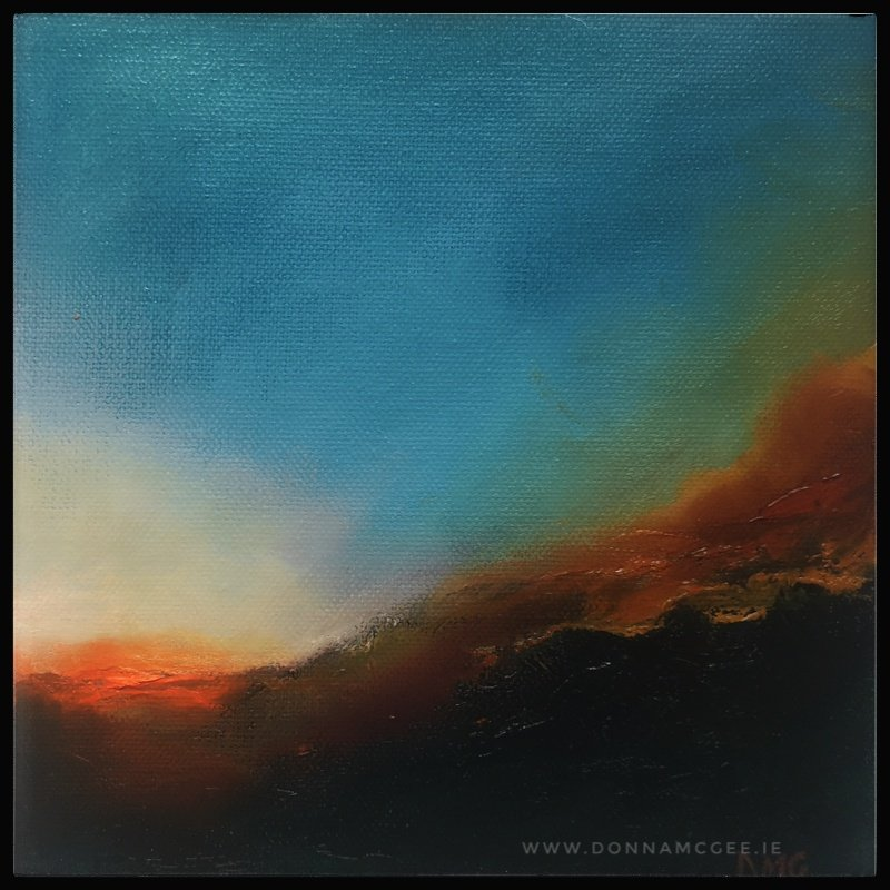 Contemporary Irish Abstract landscape painting in oil 8 x 8 inches