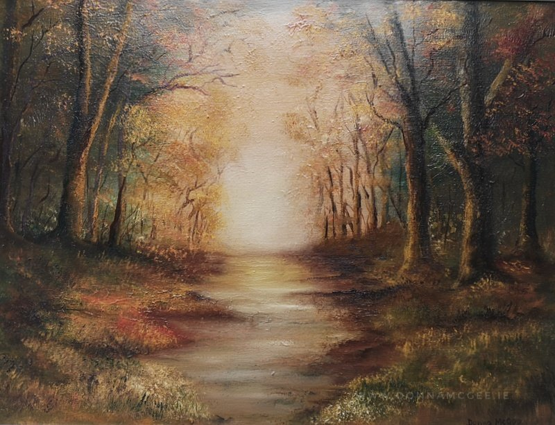 Golden moments oil painting in woodland scene