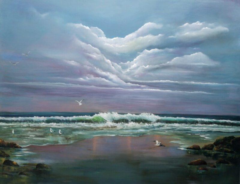 Atlantic Call original oil painting large statement piece 150 x 120 cms