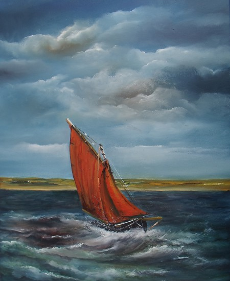 Crashing the Atlantic seascape oil painting of Galway Hooker